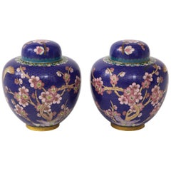 Pair of Cobalt Cloisonné Ginger Jars