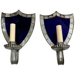 Pair of Cobalt Mirror Sconces