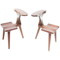 Pair of Cockfighting Chairs by M. Hayat & Bros, Mid Century