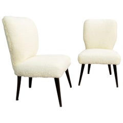 Pair of Cocktail Chairs, New Faux Fur Upholstery