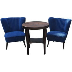Pair of Cocktail Chairs with Blue Fabric