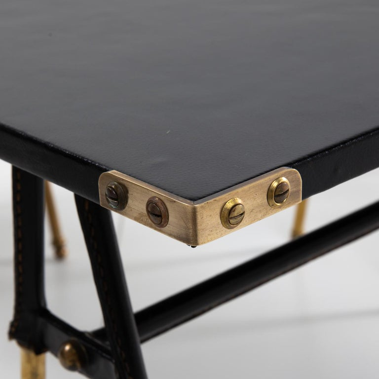 French Pair of Cocktail Tables or Sofa Ends with Faux-Bamboo Copper Decor For Sale