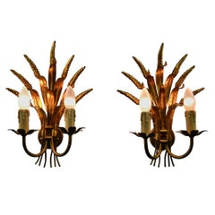 Pair of Coco Chanel Style Florentine Wall Lights with gold finish, 1970s