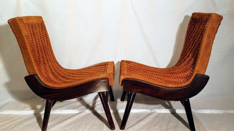 Pair of Cocobolo Rosewood and Hemp Cord 1940s Lounge Chairs Rare For Sale 3