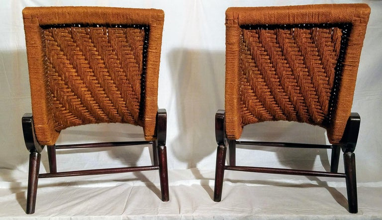 Venezuelan Pair of Cocobolo Rosewood and Hemp Cord 1940s Lounge Chairs Rare For Sale