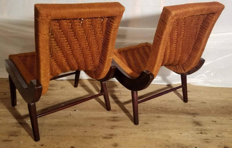 Mid-20th Century Pair of Cocobolo Rosewood and Hemp Cord 1940s Lounge Chairs Rare For Sale