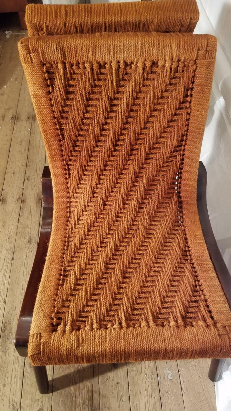 Mid-Century Modern Pair of Cocobolo Rosewood and Hemp Cord 1940s Lounge Chairs Rare For Sale