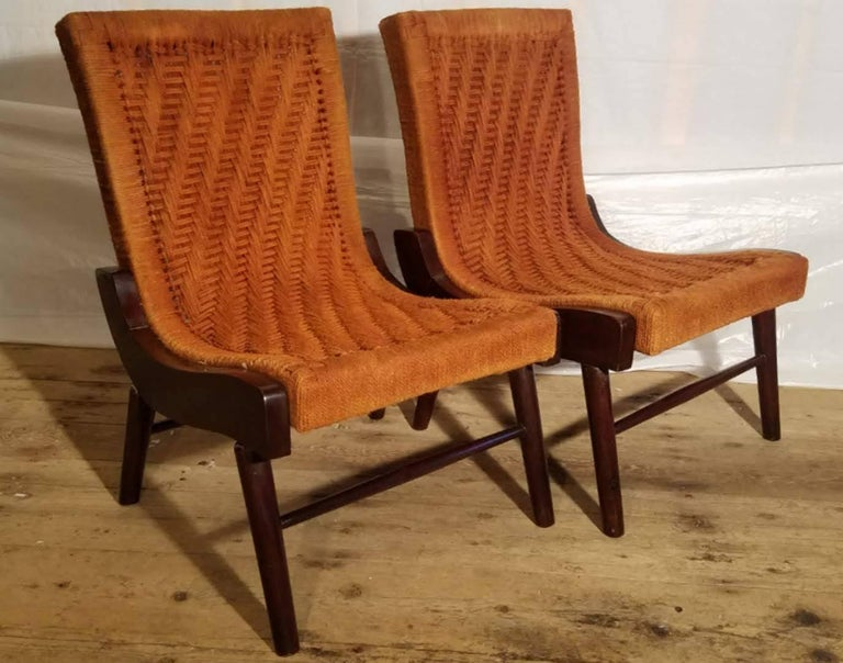 Pair of Cocobolo Rosewood and Hemp Cord 1940s Lounge Chairs Rare In Good Condition For Sale In Camden, ME