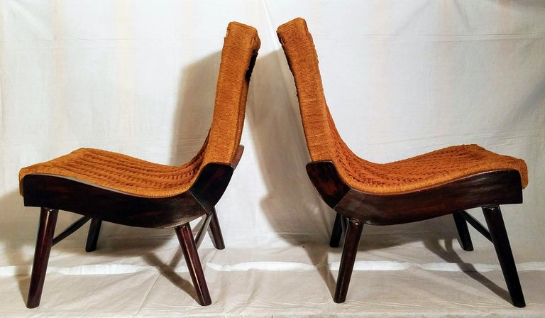 Carved Pair of Cocobolo Rosewood and Hemp Cord 1940s Lounge Chairs Rare For Sale