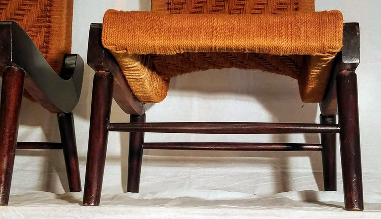 Pair of Cocobolo Rosewood and Hemp Cord 1940s Lounge Chairs Rare For Sale 1