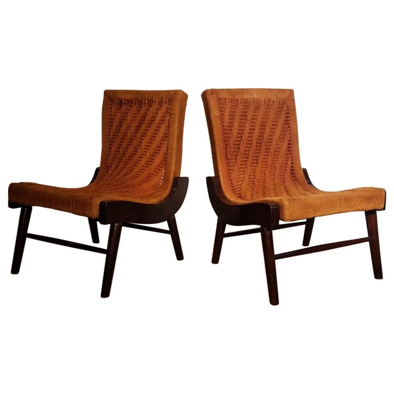 Pair of Cocobolo Rosewood and Hemp Cord 1940s Lounge Chairs Rare For Sale