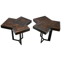 "Pair of Coffee Table ""Cubes"" in Marquetery by Aymeric Lefort"