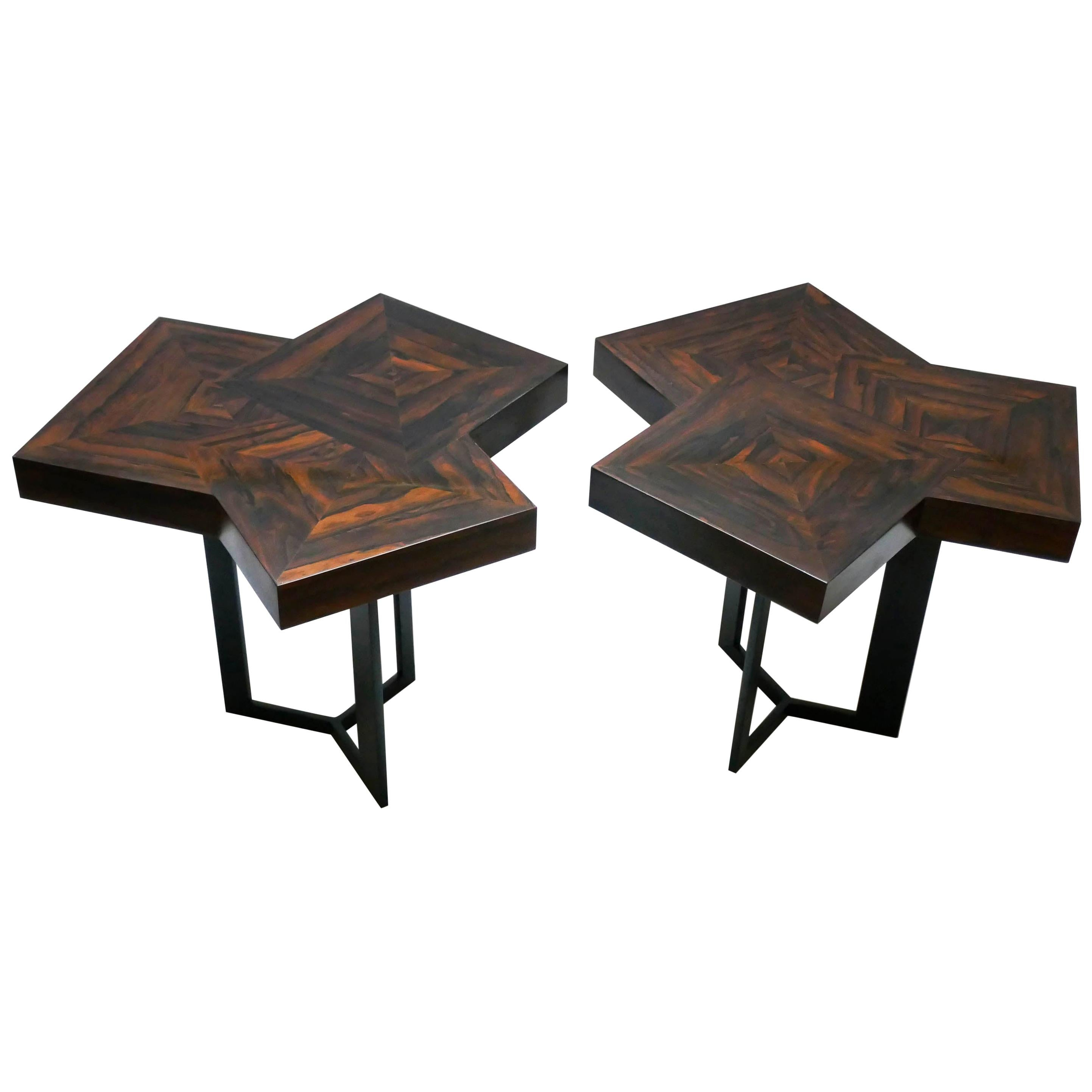 """Pair of Coffee Table """"Cubes"""" in Marquetery by Aymeric Lefort"""