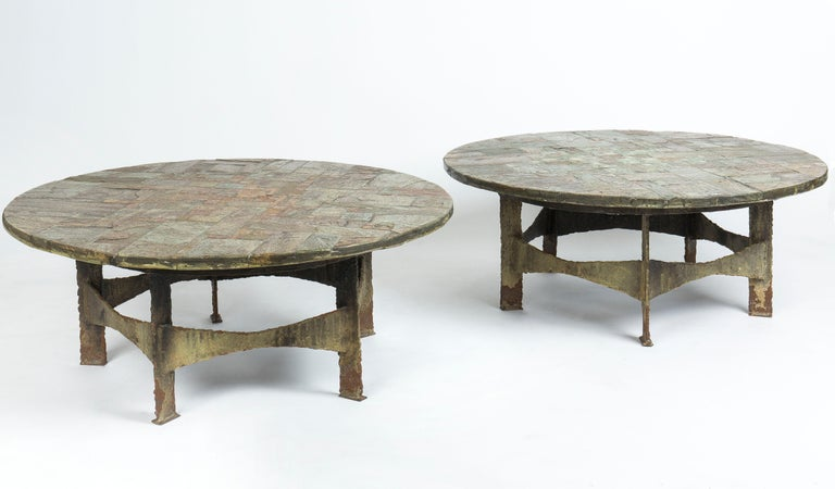 Circular top, signed, made of slate marquetry.