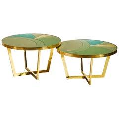 Pair of Coffee Tables in Mirror, by Studio Glustin