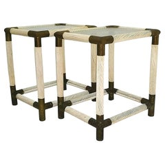 Pair of Coffee Tables Nightstands Brass and Bamboo, 1960s