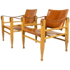 Pair of Cognac Leather and Beech Aage Bruun Safari Chairs, Denmark, 1960s