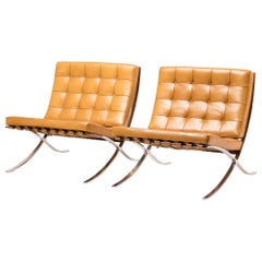 Pair of Cognac Leather Barcelona Chairs by Mies Van Der Rohe for Knoll