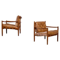 "Pair of Cognac Leather ""Läckö"" Easy Chairs by Ingemar Thillmark, 1960s"