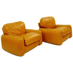 Pair of Cognac Leather Lounge Chairs by Arrigo Arrigoni for Busnelli, 1970s