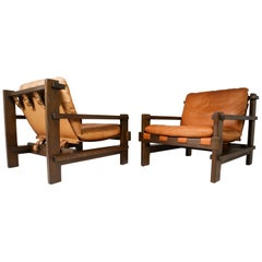 Pair of Cognac Leather lounge Chairs by Carl Straub Germany, 1960s
