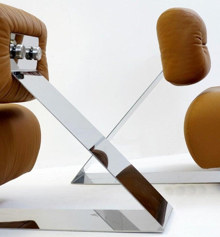 Pair of Cognac leather lounge chairs model 'Aran' by Oscar Niemeyer - 1975.