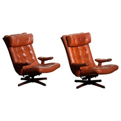 Pair of Cognac Leather Swivel / Relax Lounge Easy Chairs by Göte Design Nässjö
