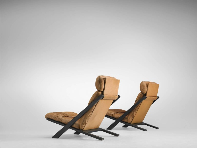 Post-Modern Pair of Cognac Leather Ueli Berger Lounge Chairs for De Sede For Sale