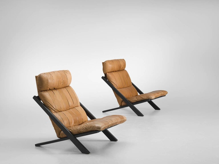 Swiss Pair of Cognac Leather Ueli Berger Lounge Chairs for De Sede For Sale
