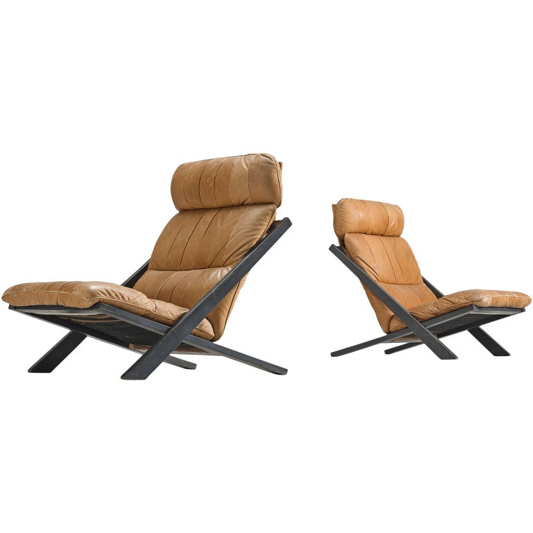 Pair of Cognac Leather Ueli Berger Lounge Chairs for De Sede For Sale