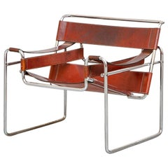 Pair of Cognac Leather Wassily Armchairs by Marcel Breuer, 1968