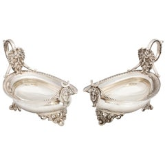 Pair of Coin Silver Neoclassical Footed Sauce, Gravy Boats