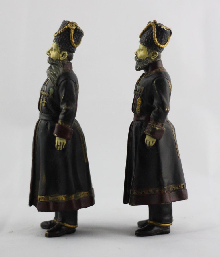 Edwardian Pair of Cold-Painted Bronze Figures of the Kamer-Kazaks after Fabergé For Sale