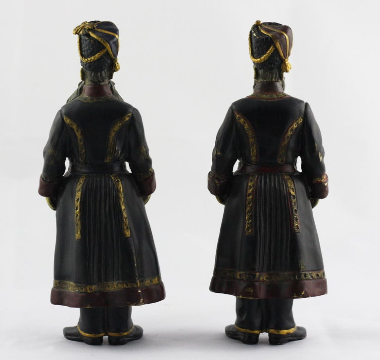 Unknown Pair of Cold-Painted Bronze Figures of the Kamer-Kazaks after Fabergé For Sale
