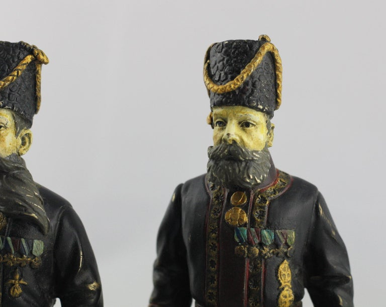 Pair of Cold-Painted Bronze Figures of the Kamer-Kazaks after Fabergé In Good Condition For Sale In Tetbury, GB