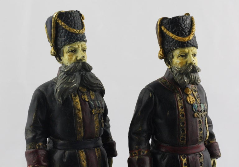 20th Century Pair of Cold-Painted Bronze Figures of the Kamer-Kazaks after Fabergé For Sale