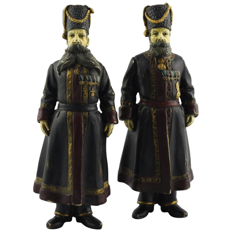 Pair of Cold-Painted Bronze Figures of the Kamer-Kazaks after Fabergé For Sale