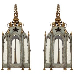 Pair of Colefax & Fowler Silvered Tôle and Gilt Hexagonal Lanterns