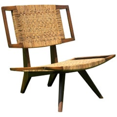 Pair of Colonial Art Deco Teak Chairs with Rattan from Burma or Myanmar, 1940