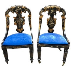 Pair of Colonial Empire Ebonized Chairs with Mother-of-Pearl Inlays, Early 1900