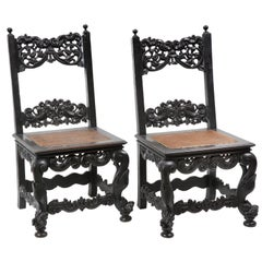 Pair of Colonial Hardwood Side Chairs with Rattan Seats, 18th Century