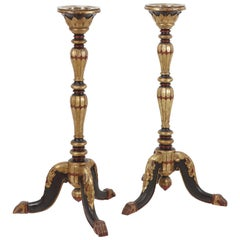Pair of Colonial Lacquered and Gilt Teak Torchères or Candle Stands