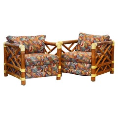 Pair of Colonial Style Bamboo Pole Upholstered Lounge Chairs, 20th Century