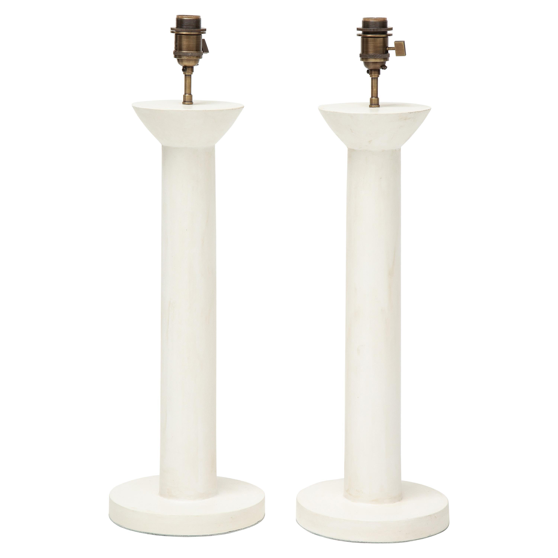 """Pair of """"Colonne"""" Plaster Lamps by Facto Atelier Paris, France, 2021"""