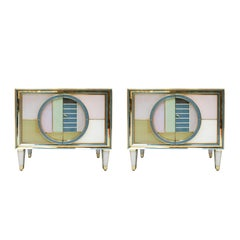 Pair of Colored Glass and Brass Sideboards, Italy, 1950s