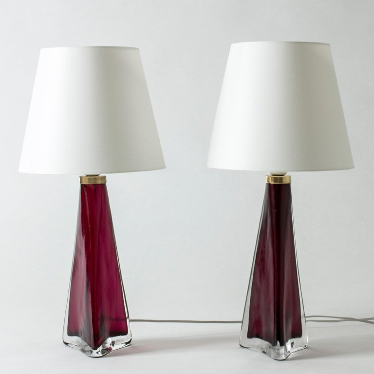 Scandinavian Modern Pair of Colored Glass Lamps Carl Fagerlund for Orrefors, Sweden, 1960s For Sale