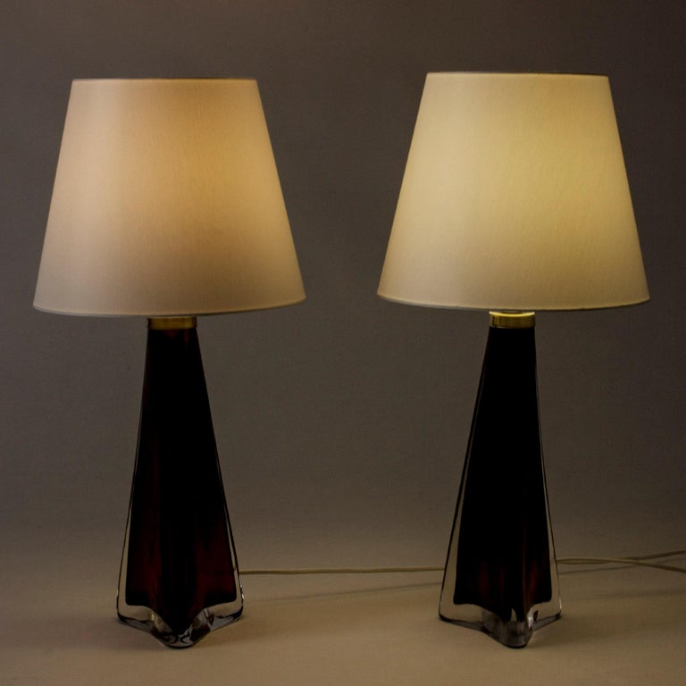 Swedish Pair of Colored Glass Lamps Carl Fagerlund for Orrefors, Sweden, 1960s For Sale