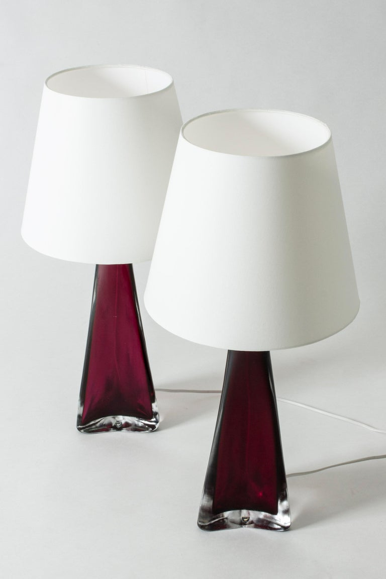 Pair of Colored Glass Lamps Carl Fagerlund for Orrefors, Sweden, 1960s In Good Condition For Sale In Stockholm, SE