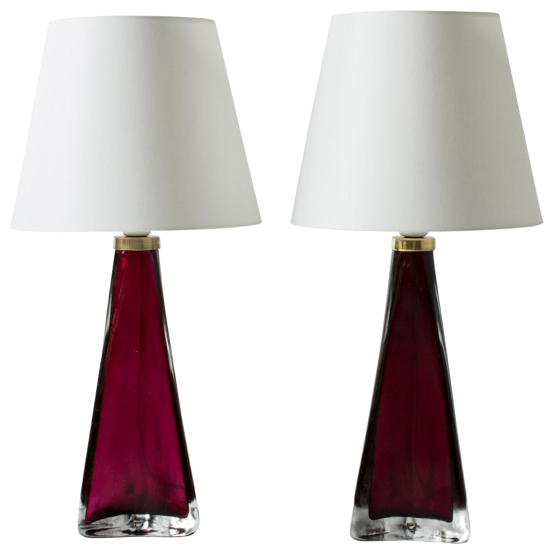 Pair of Colored Glass Lamps Carl Fagerlund for Orrefors, Sweden, 1960s
