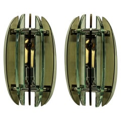 Pair of Colored Glass Wall Lights by Veca